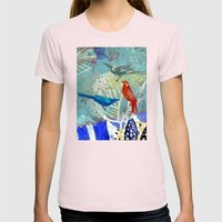 Birds in the backyard. Womens Fitted Tee Light Pink SMALL
