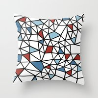 Segment Red and Blue Throw Pillow