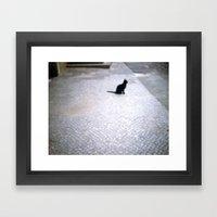 black cat in berlin Framed Art Print