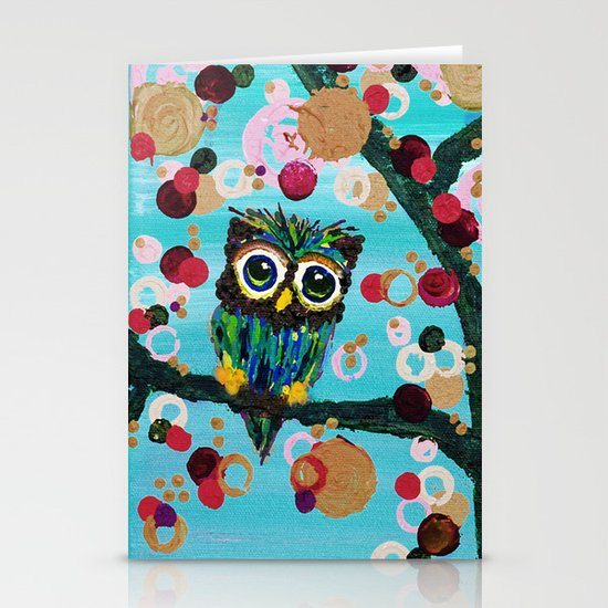 :: Gemmy Owl Loves Jewel Trees :: Stationery Card