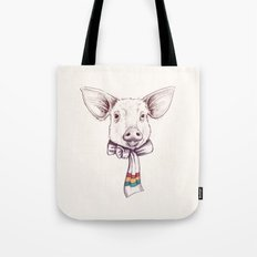 Pig and scarf Tote Bag