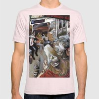 E Train Wolves Mens Fitted Tee Light Pink SMALL