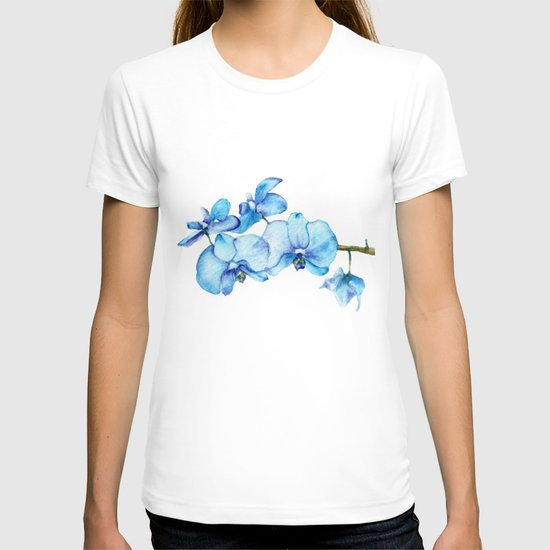 Blue Orchids Two - Watercolor T-shirt