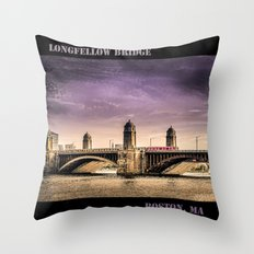 Longfellow Bridge, Boston MA Throw Pillow