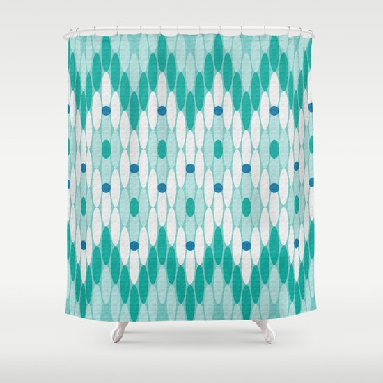 Ikat Chevron Teal Shower Curtain by Shawn King   Society6
