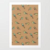 doodle birds - brown Art Print