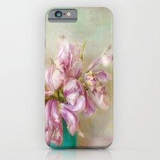 bouquet tulips in blue vase iPhone 6 Slim Case