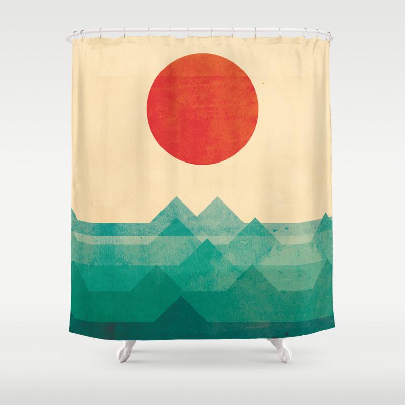 pop art shower curtains society6. Black Bedroom Furniture Sets. Home Design Ideas
