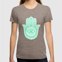 Hamsa lucky green Womens Fitted Tee Tri-Coffee SMALL