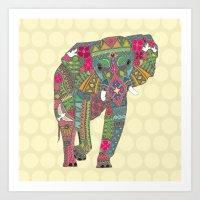 Painted Elephant Straw S… Art Print