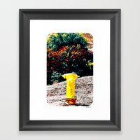 Yellow Fire Hydrant Comi… Framed Art Print