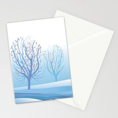 Winter Scene with Barren Trees and Stream Stationery Cards