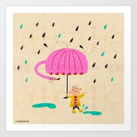 one of the many uses of a flamingo - umbrella Art Print
