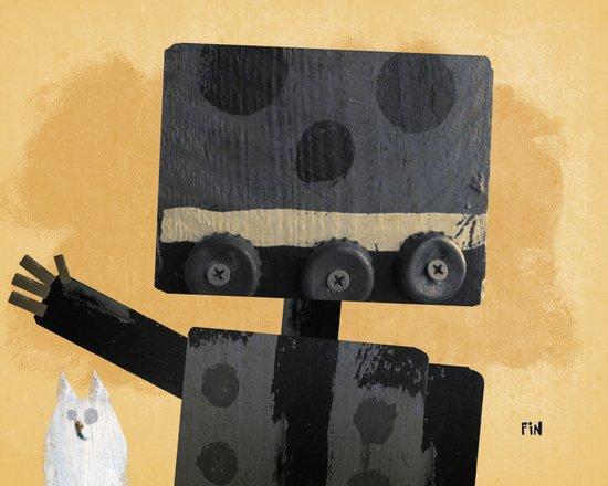 Happy Robot Happy Cat Canvas Print