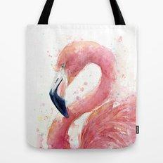 Pink Flamingo Watercolor Tote Bag