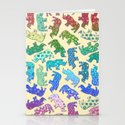 Rhino Patchwork Pattern - rainbow Stationery Cards