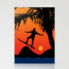 Man Surfing at Sunset Graphic Illustration Stationery Cards