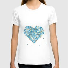 forget-me-nots heart Womens Fitted Tee White SMALL