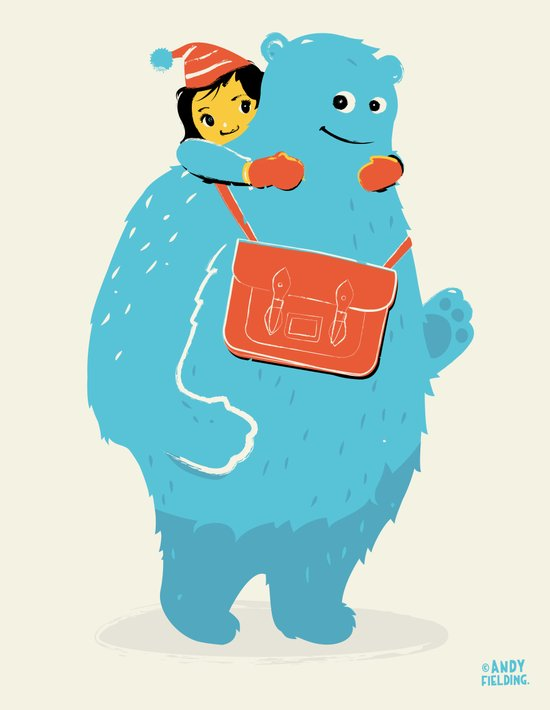 Blue-Monster Piggy-Ride Art Print