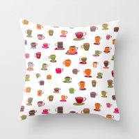 Coffee Cup Green & Orang… Throw Pillow