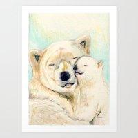 Polar Bears, Mother And … Art Print
