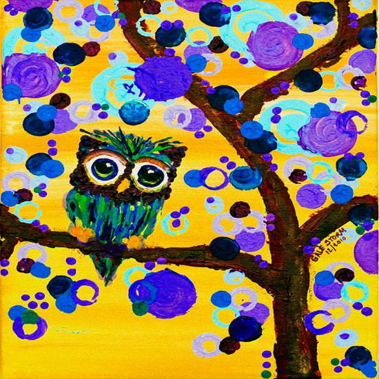 :: Sunshine Gemmy Owl :: Art Print