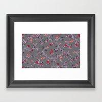 floral vines - dark grey and lilacs Framed Art Print