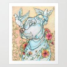 Peaceful Pitbull Art Print
