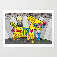 Dog vs Aliens Art Print
