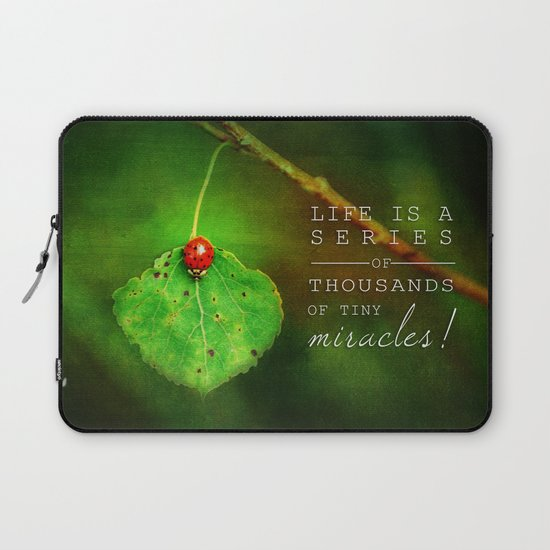 Ladybug On Leaf Thousand Miracles Quote Laptop Sleeve By