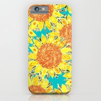 iPhone Cases featuring sunflower field by Sharon Turner