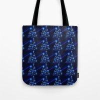 Glowing Blue Christmas Trees Tote Bag