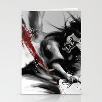 Samurai fight Stationery Cards