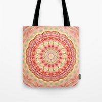 Mandala Tequila Sunrise -- Kaleidoscope of Vibrant Sunny Colors Tote Bag