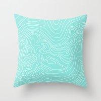 Ocean depth map - turquoise Throw Pillow