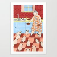 Art Print featuring Pug Lady by Mai Ly Degnan