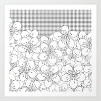Cherry Blossom Grid - In… Art Print