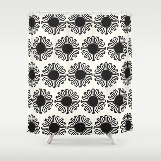 Vintage Flower_Black Shower Curtain