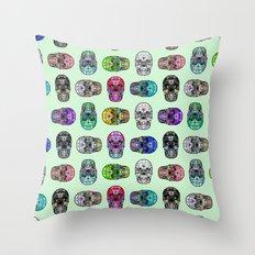 Robot Skull Hearts on Mint | Love Skulls Throw Pillow