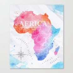 Africa Map In Colors Canvas Print