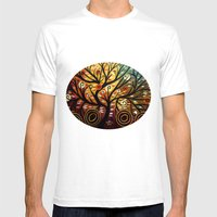 Abstract Tree-9 Mens Fitted Tee White SMALL