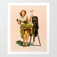Vintage Camera Pinup Gir… Art Print