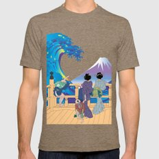 Hokusai People Seeing Big Wave & Mt.Fuji Mens Fitted Tee Tri-Coffee SMALL