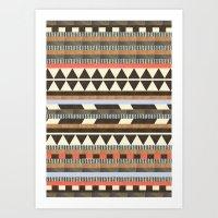 patterns Art Prints featuring DG Aztec No.1 by Dawn Gardner
