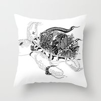 Inking Turtle Throw Pillow