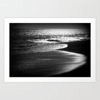 ocean in black and white  Art Print