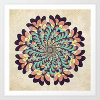 Maple Samaras Flower Mandala Art Print