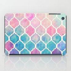 Rainbow Pastel Watercolor Moroccan Pattern iPad Case