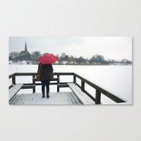 Copenhagen - Red Umbrella Canvas Print