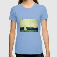 Come Sail Away Womens Fitted Tee Tri-Blue SMALL